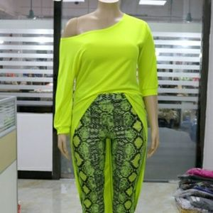 Tops - Plus size Lime green off shoulder top